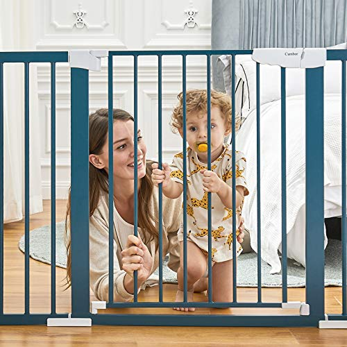 """51SinumBskL Cumbor 46""""Baby Gate for Stairs and Doorways, Extra Tall and Wide Auto Close Safety Child Gate, Easy Walk Thru Durable Dog Gate for The House. Includes (2)2.75-Inch and 8.25-Inch Extension(Blue)    Product Description"""