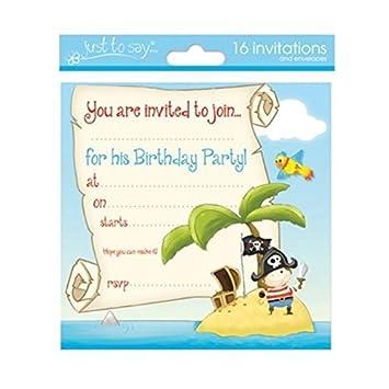 Invitaciones de Cumpleaños Niño con Diseño de Piratas x 16 ...