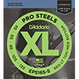 D'Addario EPS165-5 5-String ProSteels Bass Guitar Strings, Custom Light, 45-135, Long Scale