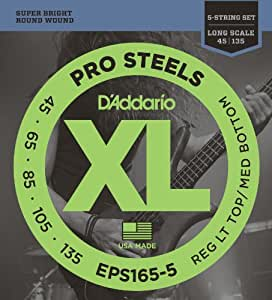 d 39 addario eps165 5 5 string prosteels bass guitar strings custom light 45 135. Black Bedroom Furniture Sets. Home Design Ideas
