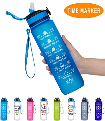 Giotto 32oz Large Leakproof BPA Free Drinking Water Bottle with Time Marker & Straw to Ensure You Drink Enough Water Throughout The Day for Fitness and Outdoor Enthusiasts-Blue (Water Jug Liter 1)