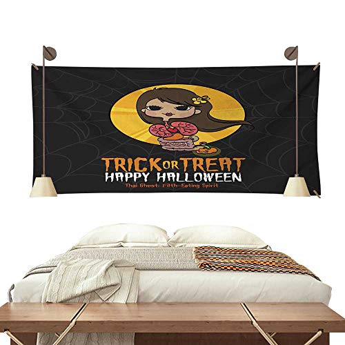 BlountDecor Horizontal Tapestry Halloween Trick or Treat Thai Ghost 84W x 70L Inch