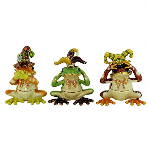 See, Hear, Speak No Evil Jester Frog Trinket Box Set (Set Jester)