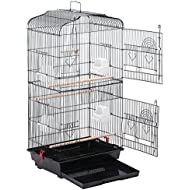 Large Metal Bird Cage Budgie Parrot Canary Cockatiel 18x14x36'' Black