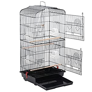 """Yaheetech 36"""" Portable Hanging Medium Size Bird Cage for Small Parrots Cockatiels Sun Quaker Parakeets Green Cheek Conures Finches Canary Budgies Lovebirds Travel Bird Cage, Black 60"""