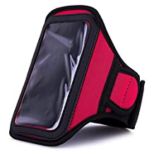 Pink VG Neoprene Hardcore Workout Armband with 2 Piece Adjustable Velcro Strap for HTC DROID Incredible 4G LTE / HTC One X / HTC One S / HTC Vile / HTC One V / HTC Titan II / HTC EVO 4G LTE / HTC Windows Phone 8X / HTC Windows Phone 8S / HTC One X+ LTE