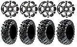 Bundle - 9 Items: ITP SS312 14'' Wheels Black 27'' Grim Reaper Tires [4x110 Bolt Pattern 10mmx1.25 Lug Kit]