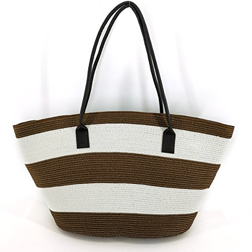 - MeliMe Straw Bag Tote Beach Bag Top Shoulder Handbag with Linen cloth Lining and Leather Handle - Eco Friendly Bag (Style 02)