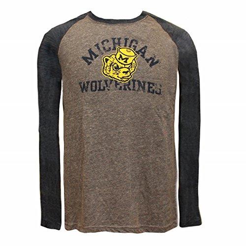 Adidas Michigan Mascot Light Gray Long Sleeve Raglan T-Shirt; Youth X-Large Size 18-20