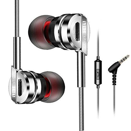 Wired Earbuds,in-Ear Metal Earphones,Stereo Bass Headphones with Microphone Compitable Apple and Android,Laptop and More