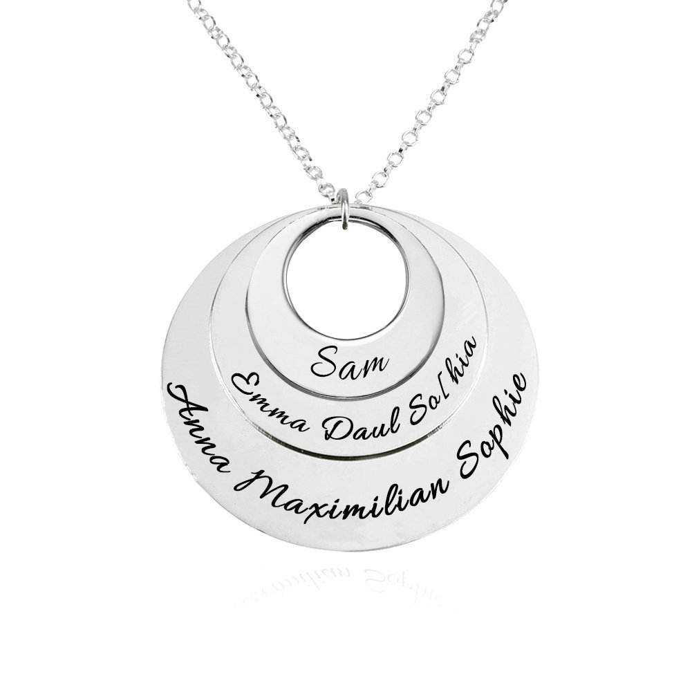 HACOOL 925 Sterling Silver Personalized Family Tree Name Necklace Hollow Disc Pendant Custom Up to 8 Name