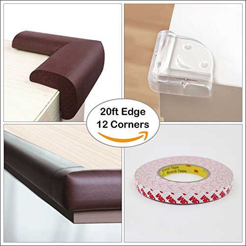 Meiqicool Safe Edge and Corner Guard Set | Furniture Edge Safety Bumpers for Baby | Cushion Foam Protector Kit for Toddlers | 20ft Edge + 12 Corners, Brown, F200804Z by meiqicool (Image #2)