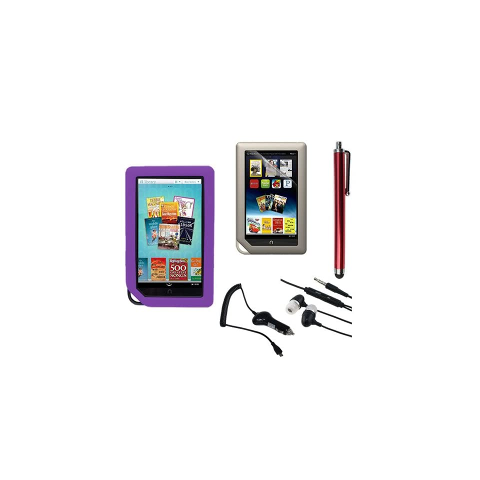 Skque Clear Screen Protector + Purple Soft Silicone Cover Case + Touch Screen Tablet/Smart Phone Stylus Pen(Red Body) + Earphone headset w/mic + 2100Mah Rapid Car Charger for Barnes&Noble Nook Color Ebook Reader