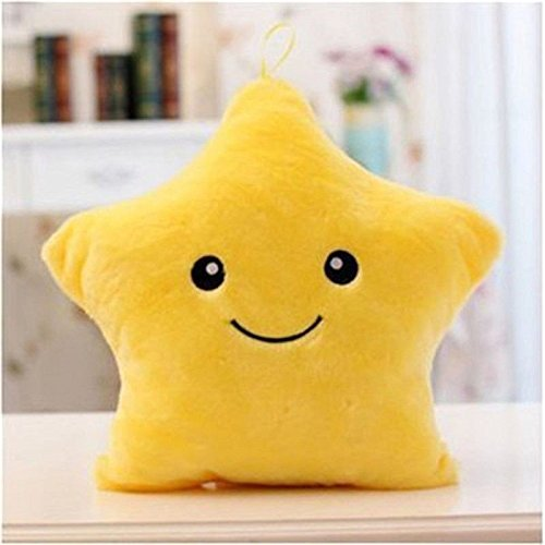 1x LED Lovely New Colorful Stuffed Dolls Star Heart Bear Paw Pillows Toys Gift - Yellow Star
