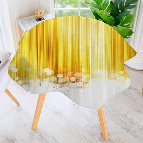 Table Decoration Durable-ped with Bubble Alike Circles Artwork Yellow and White for Home Kitchen Dining roomWaterproof Coffee Premium Tablecloth 55