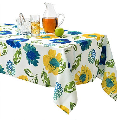 (Benson Mills Lola Indoor Outdoor Spillproof Stain Resistant Tablecloth (Teal, 60 X 104))