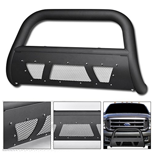 VXMOTOR Matte Black Heavyduty Studded Mesh Bull Bar Brush Push Front Bumper Grill Grille Guard With Skid Plate 1999-2004 Ford F250 / F350 / F450 / F550 Superduty ; 2000-2004 Ford Excursion (F250 2004 Bar Bull)