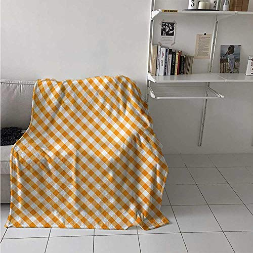 - maisi Checkered Weave Pattern Extra Long Blanket Cross Weave Gingham Pattern in Orange and White Old Fashioned Classical Tile Custom Design Cozy Flannel Blanket 80x60 Inch Orange White