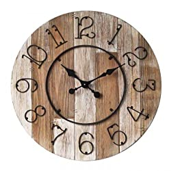 Concepts Big Home Wooden Wall Clock Big Numerals Natural Wood Features Size 28 '' with Metal Dials