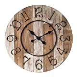 Concepts Big Home Wooden Wall Clock Big Numerals Natural Wood Features Size 28 '' with Metal Dials