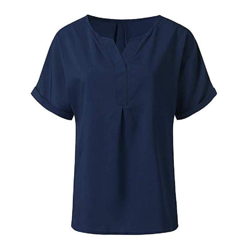GFGH Damen Oberteil T-Shirt Elegant Kurzarm V-Ausschnitt Bluse Einfarbig L/ässig locker Tunika Hemd Sommer Tops
