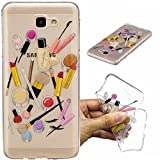 Qiaogle Phone Case - Soft TPU Silicone Case Cover Back Skin for Samsung Galaxy On5 2016 / J5 Prime (5.0 inch) - HC10 / Lip gloss + eyebrow pencil