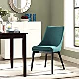 Modway Viscount Fabric Upholstered Dining Side Chair in Teal For Sale