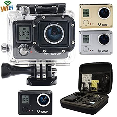 AMKOV 5000S 20MP 1080P Wifi Waterproof 30M 170° Wide Action Sports HD Camera DV + Shockproof Carrying Bag and Free Accessories Kit