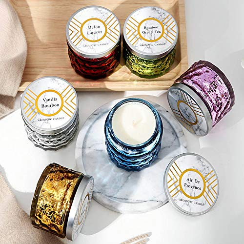 Reabeam Essential Oils Scent Smokeless Incense Scented Candles in Glass, Highly Scented & Long Lasting Aromatherapy Frosted Glass Jar Candles for Home (Golden,1)