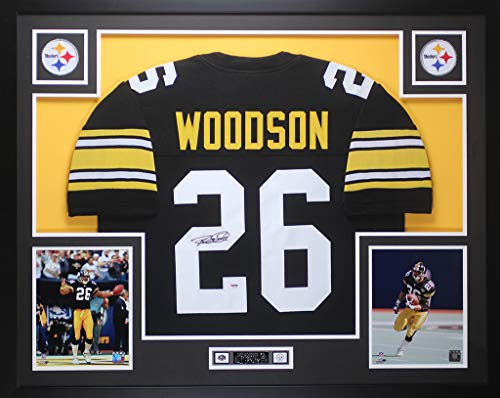 Rod Woodson Autographed Black Steelers Jersey - Beautifully Matted and Framed - Hand Signed By Rod Woodson and Certified Authentic by PSA - Includes Certificate of Authenticity