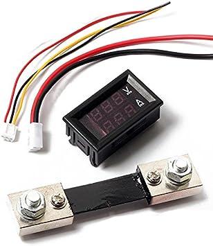 Digital Blau Rot Led Voltmeter Amperemeter Meter Aktuelle Shunt Dc100v 100a Auto