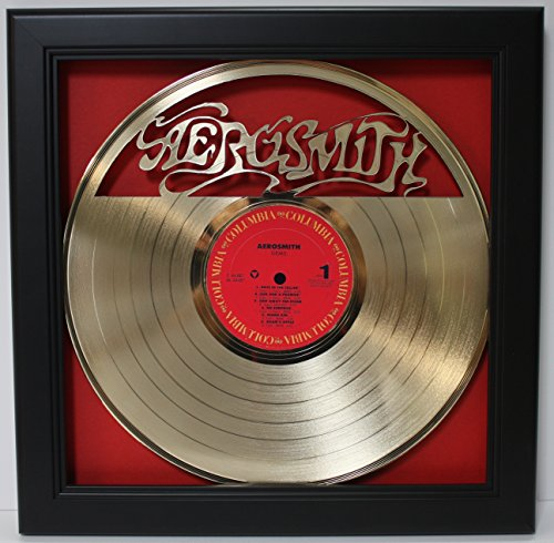 Aerosmith Framed Laser Cut Gold Plated Vinyl Record in Shado
