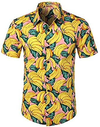 SODIAL Camiseta Blusa Tunica Chaleco De Color Puro De Manga Corta Apto Delgado Boton De Solapa De Estampado Platano Vacacion De Plya De Verano De Hombre Amarillo M: Amazon.es: Ropa y accesorios