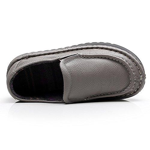 Zapatos Entrenadores Mujer Ponerse Plataforma Comodidad Zapatillas 2601 Cuero Gris Shenn x6q17040