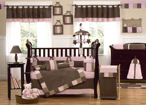 Modern Micro Fiber Pink/Brown Soft and Cute 12 Pieces Crib Bedding Set Baby - Nursery 12 Piece