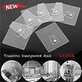 12 Packs Hooks for Hanging Anti-skid Hooks Reusable Transparent Traceless Wall Hanging Hooks (White 12 pcs)