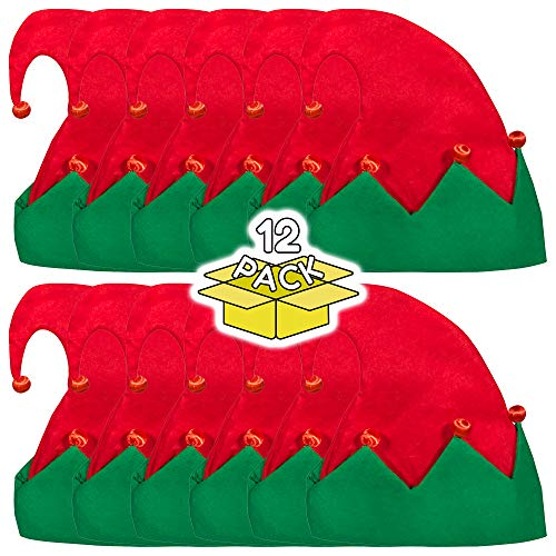 LED Light Up Festive Christmas Santa Elf Hat - Family 12 Pack