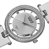 Burgi Women's BUR104WTS Diamond and Crystal-Accented Watch with White Satin Band