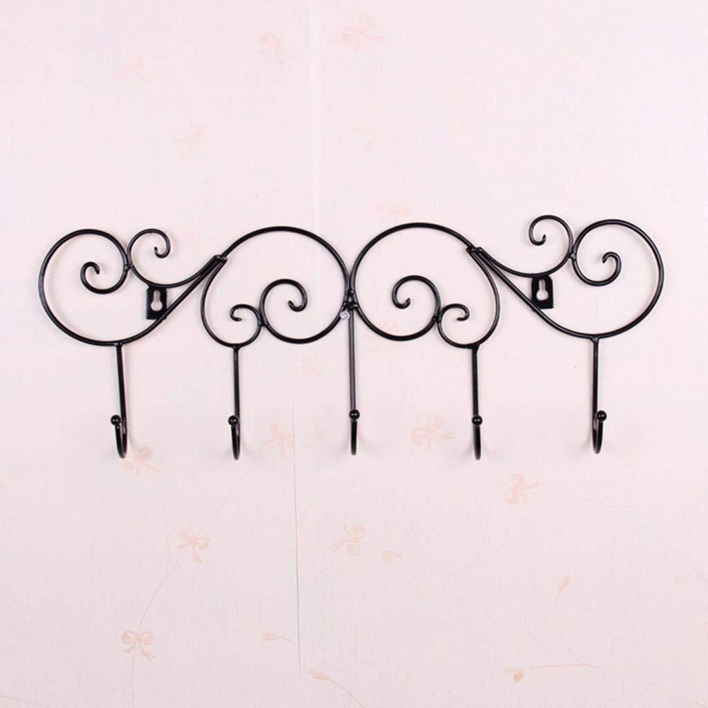 Agordo Iron Wall Door Hook Rack Clothes Towel Hanger for Kitchen Bathroom-Black