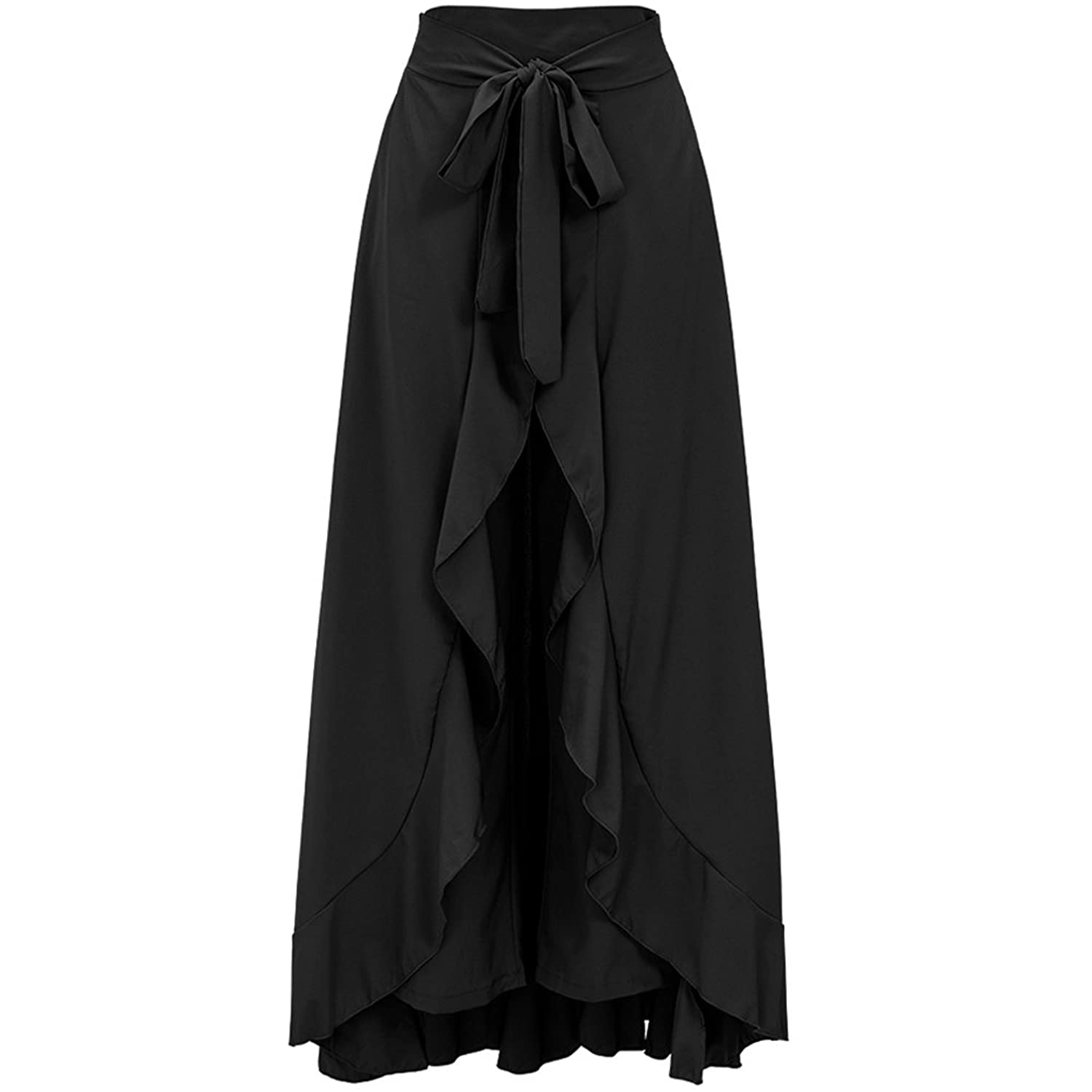 LaCouleur Women's Ruffles Detail Wrapped Casual Beach Work Party Flare Maxi Long Skirt With Belt