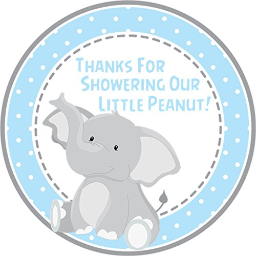 Amazon Com Boys Blue Elephant Baby Shower Favor Tags Or Sticker