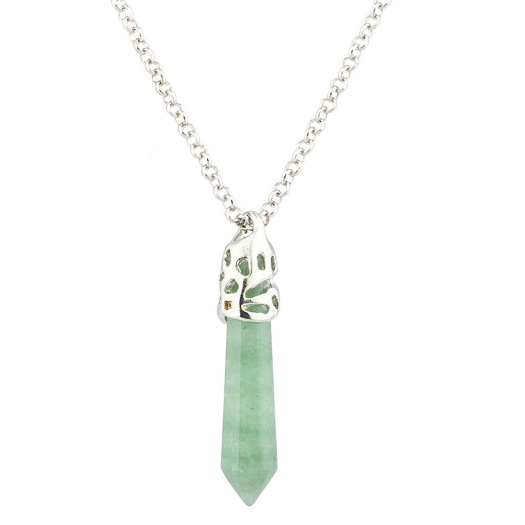 Lux Accessories Green Crystal Agate Chakra Spiritual Protection Amulet Pendant Necklace. N215030-1-N385