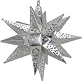 Moravian Star Light, Flower Pierced Tin, Silver, 18''
