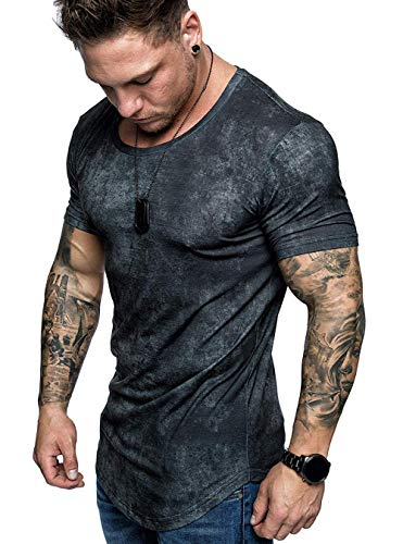 Mens Casual Short Sleeve Slim Fit T-Shirt Bodybuilding Muscle Fitness Tee Tops (US XXL, P-Black)
