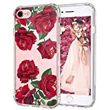 MOSNOVO iPhone 8 Case, iPhone 7 Case, Red Roses Blossom Flower Floral Clear Design Printed Plastic Back Case with TPU Bumper Protective Case Cover for Apple iPhone 7 / iPhone 8