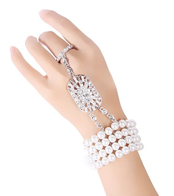 Roaring 20s Costumes- Flapper Costumes, Gangster Costumes  The Great Gatsby Inspired Bridal Flower Pattern Imitation Pearl Bracelet Ring Set $10.99 AT vintagedancer.com