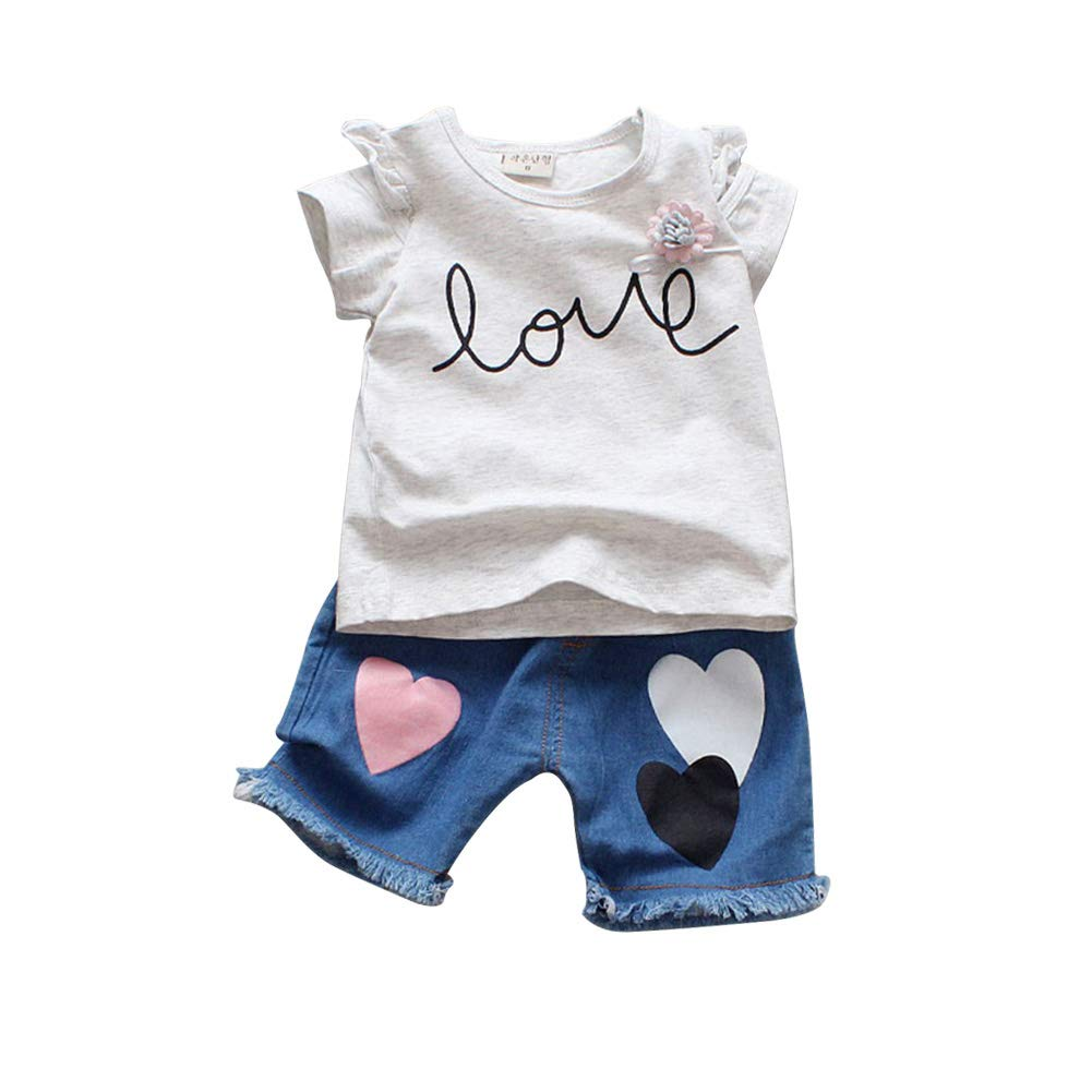 Toddler Kids Baby boys summer Outfits Clothes T-shirt/&Denim short Pants 2PCS Set