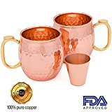 Product review for Set of 2 Moscow Mule Copper Mugs with Shot Glass - Two 16 Oz Hammered Moscow Mule Mugs for Cold Drinks - Solid Copper Mugs with BONUS eBook by Copper Gloss