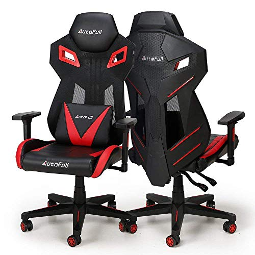 AutoFull Office Executive Swivel Leather Chair Racing Style with High-back PU Leather Mesh Bucket Seat And Computer Lumbar Support Red Black Most Popular