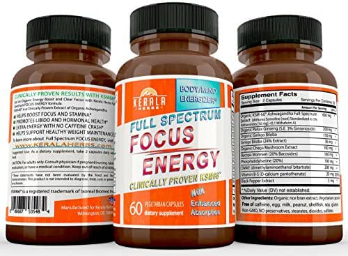 FOCUS ENERGY PILLS: Max Dose KSM66 Organic ASHWAGANDHA Boost Performance Pre Workout Anti Stress Anxiety Depression Mood Brain Memory Mental Cognitive Enhancer Ginkgo Ginseng Nerve Tonic Supplement 60